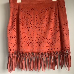 AEO Desert Orange Suede Fringed Skirt